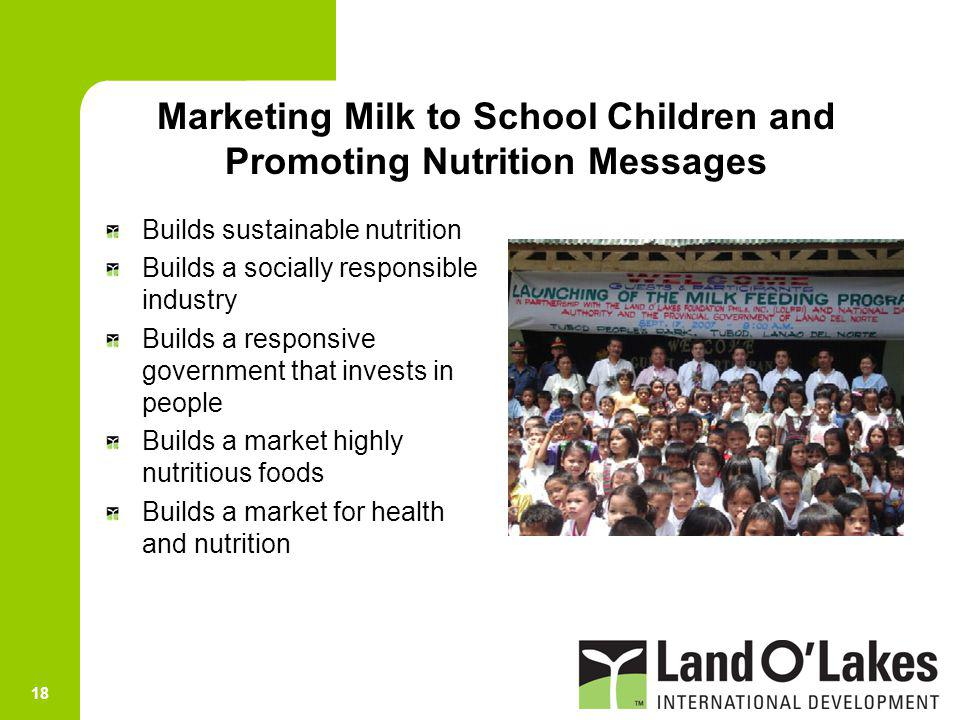 Marketing Milk to School Children and Promoting Nutrition Messages