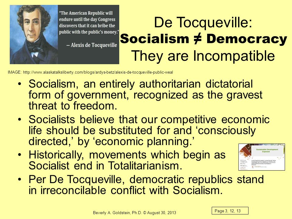 De Tocqueville: Socialism ≠ Democracy They are Incompatible