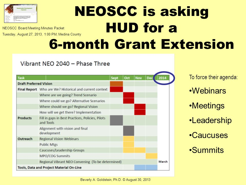 NEOSCC is asking HUD for a 6-month Grant Extension