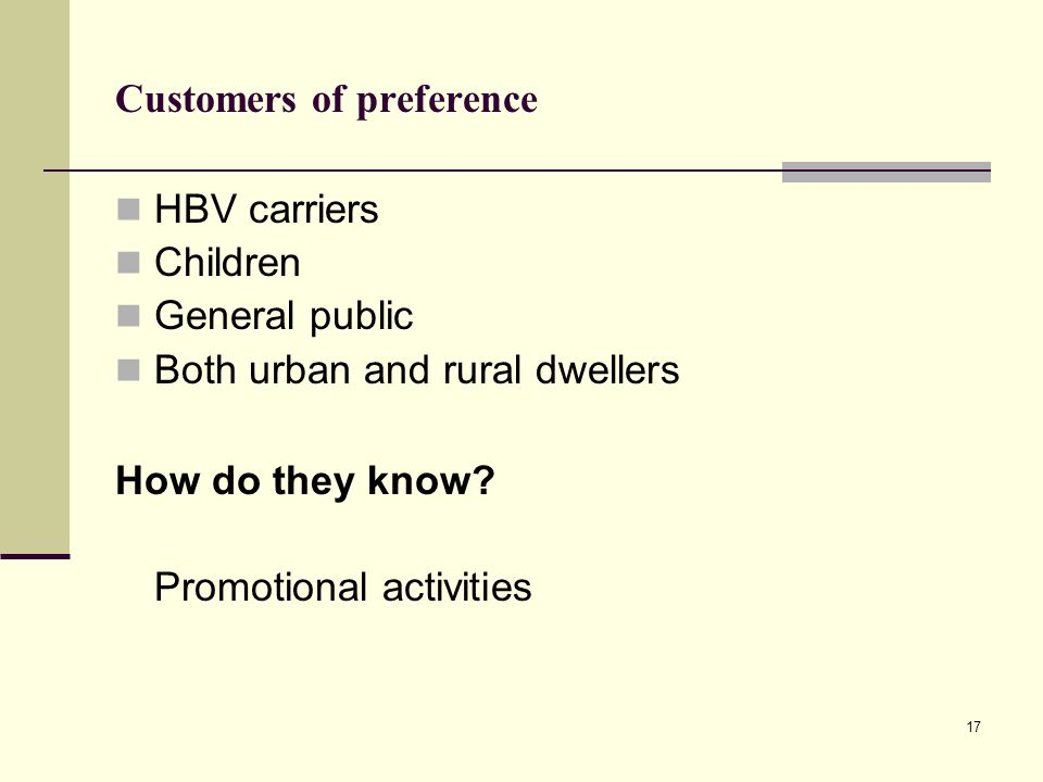 Customers of preference