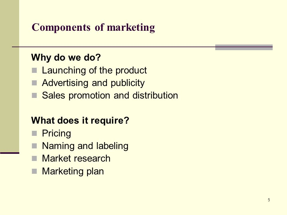 Components of marketing