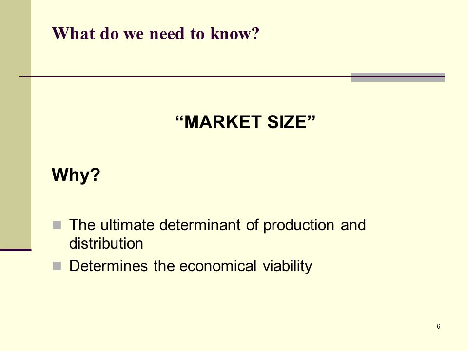 What do we need to know MARKET SIZE Why