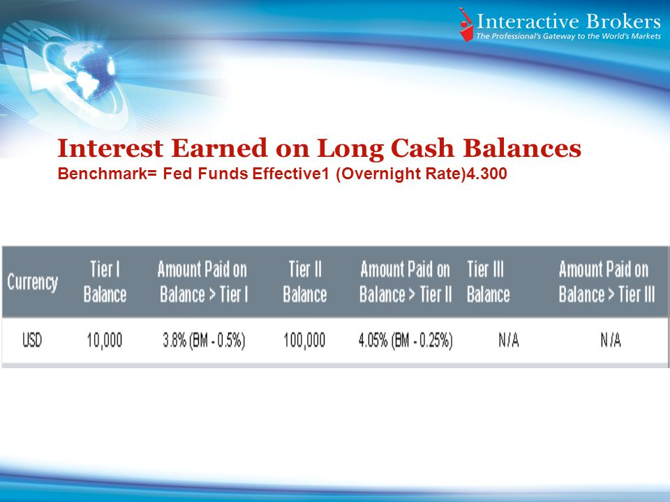 Interest Earned on Long Cash Balances