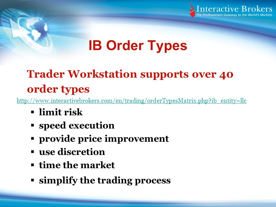 IB Order Types Trader Workstation supports over 40 order types