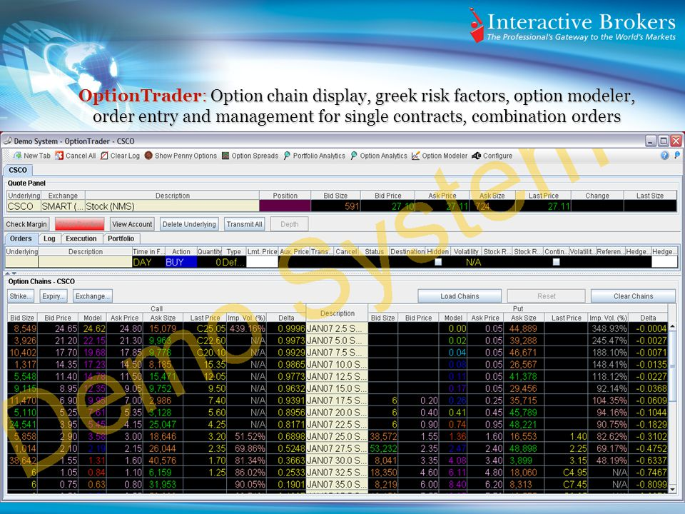 OptionTrader: Option chain display, greek risk factors, option modeler, order entry and management for single contracts, combination orders