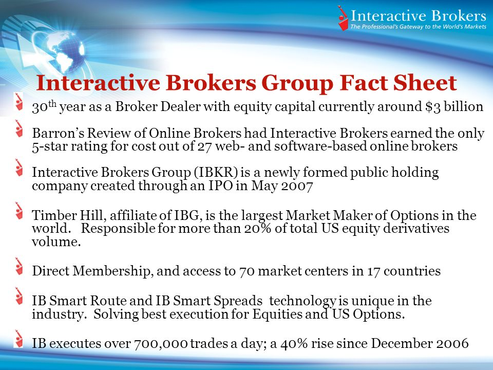 Interactive Brokers Group Fact Sheet