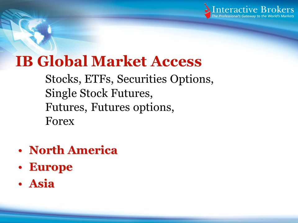IB Global Market Access. Stocks, ETFs, Securities Options,