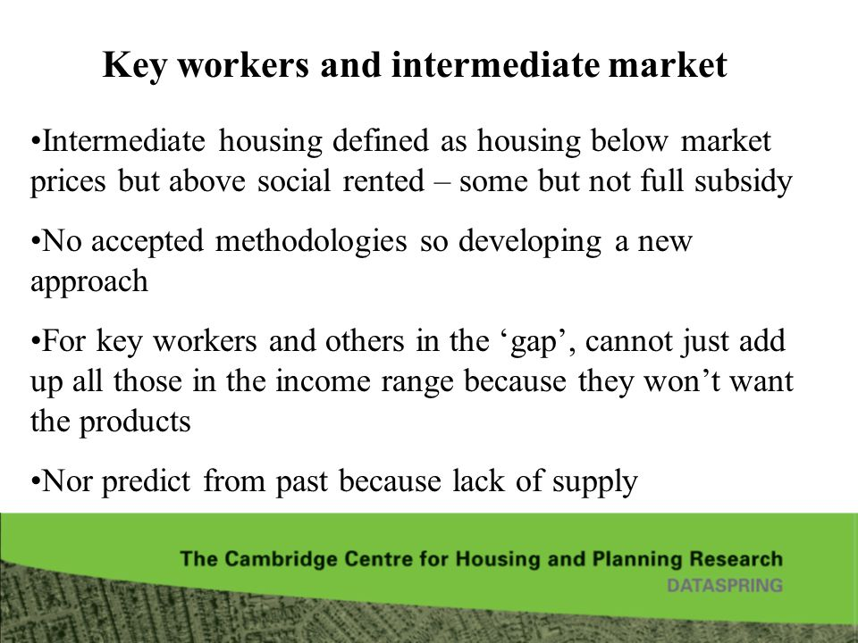 Key workers and intermediate market