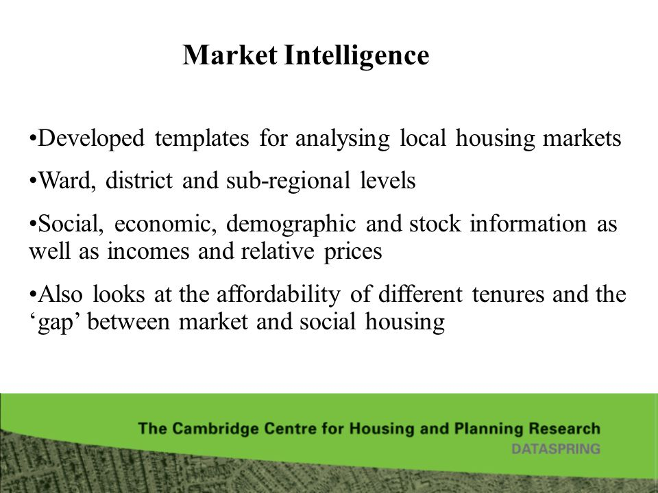 Market Intelligence Developed templates for analysing local housing markets. Ward, district and sub-regional levels.