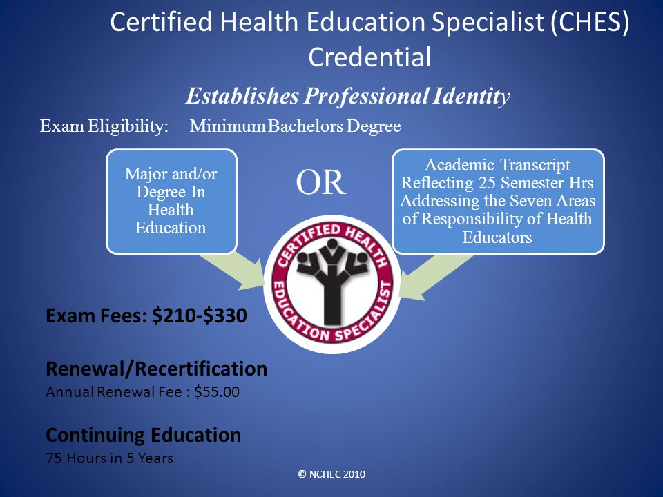 Certified Health Education Specialist (CHES) Credential