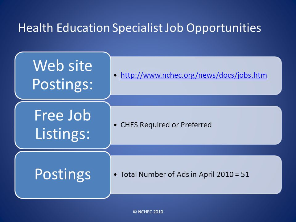 Health Education Specialist Job Opportunities