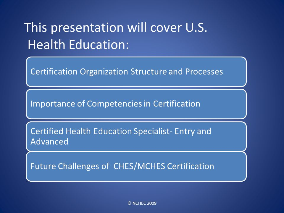 This presentation will cover U.S. Health Education: