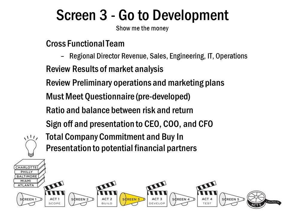 Screen 3 - Go to Development Show me the money