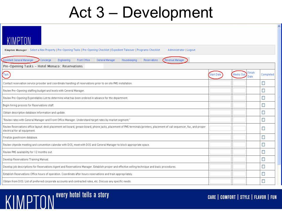 Act 3 – Development