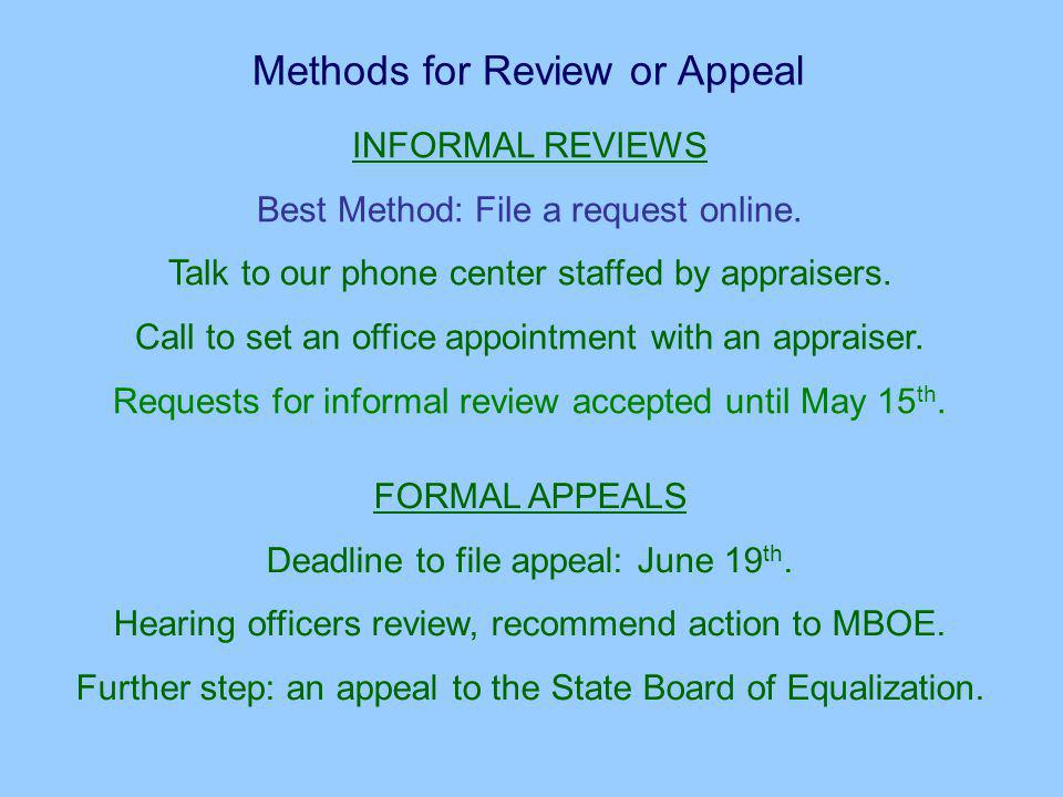 Methods for Review or Appeal