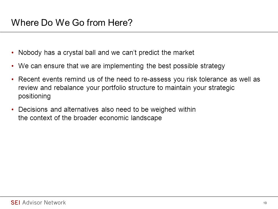 Where Do We Go from Here Nobody has a crystal ball and we can't predict the market.