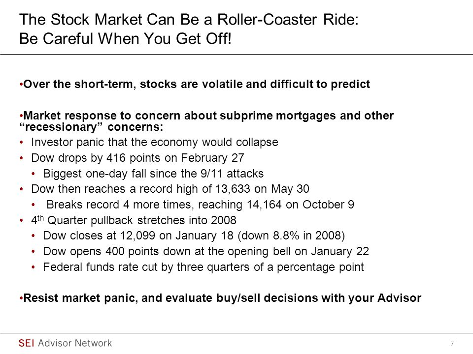 The Stock Market Can Be a Roller-Coaster Ride: Be Careful When You Get Off!