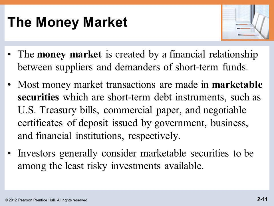 The Money Market The money market is created by a financial relationship between suppliers and demanders of short-term funds.