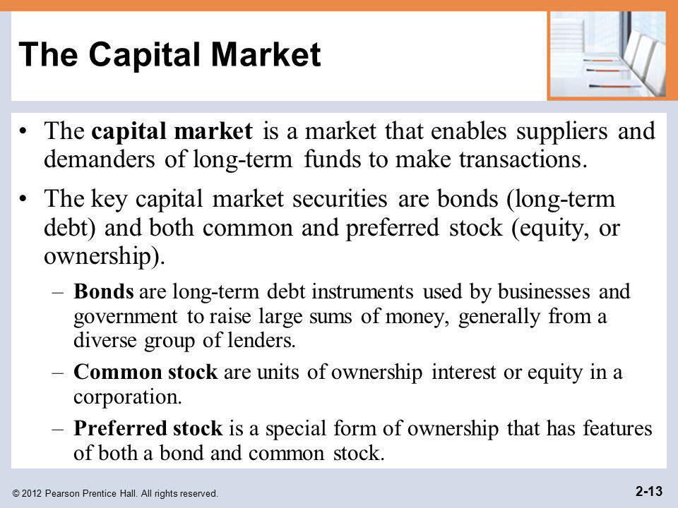 The Capital Market The capital market is a market that enables suppliers and demanders of long-term funds to make transactions.