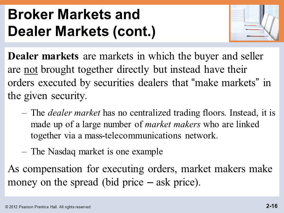 Broker Markets and Dealer Markets (cont.)