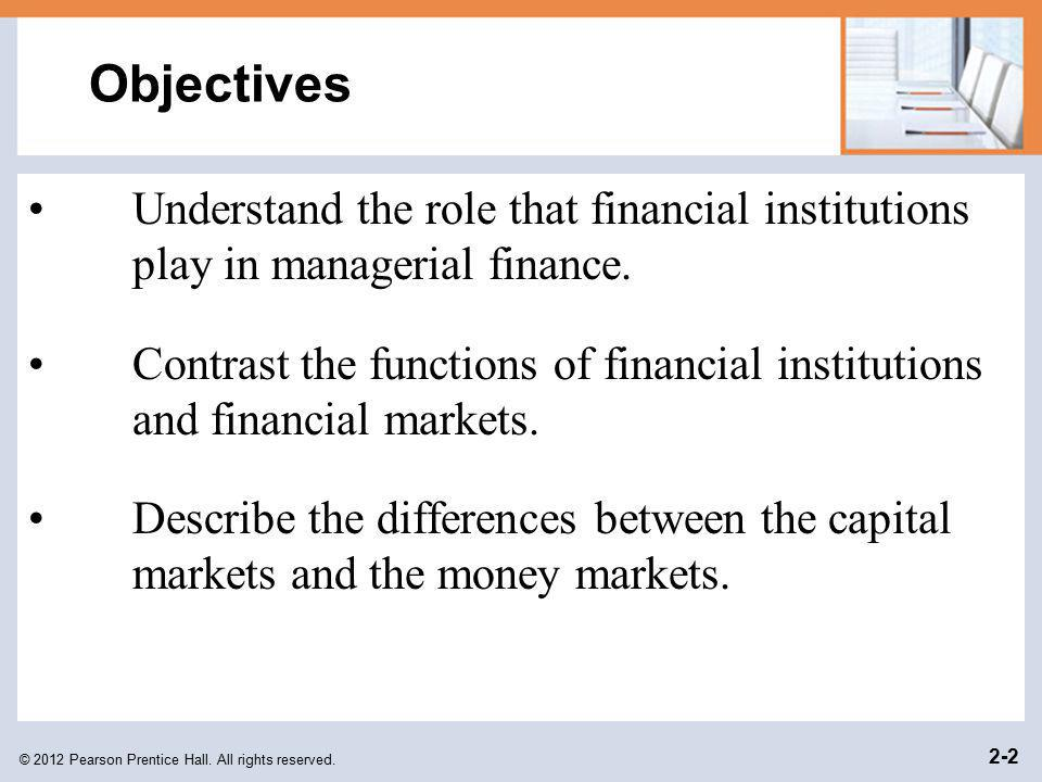 Objectives Understand the role that financial institutions play in managerial finance.