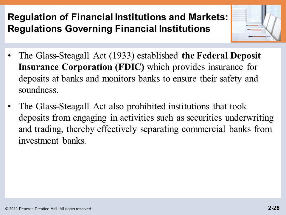 Regulation of Financial Institutions and Markets: Regulations Governing Financial Institutions