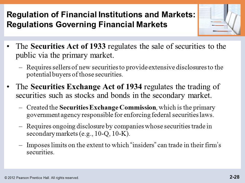 Regulation of Financial Institutions and Markets: Regulations Governing Financial Markets