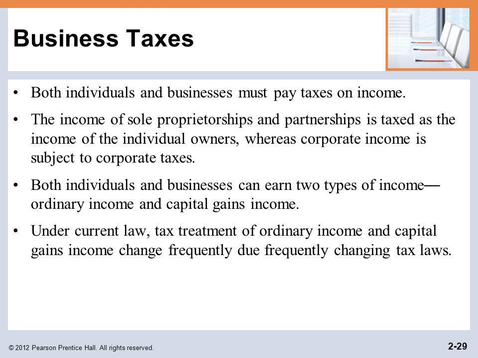 Business Taxes Both individuals and businesses must pay taxes on income.