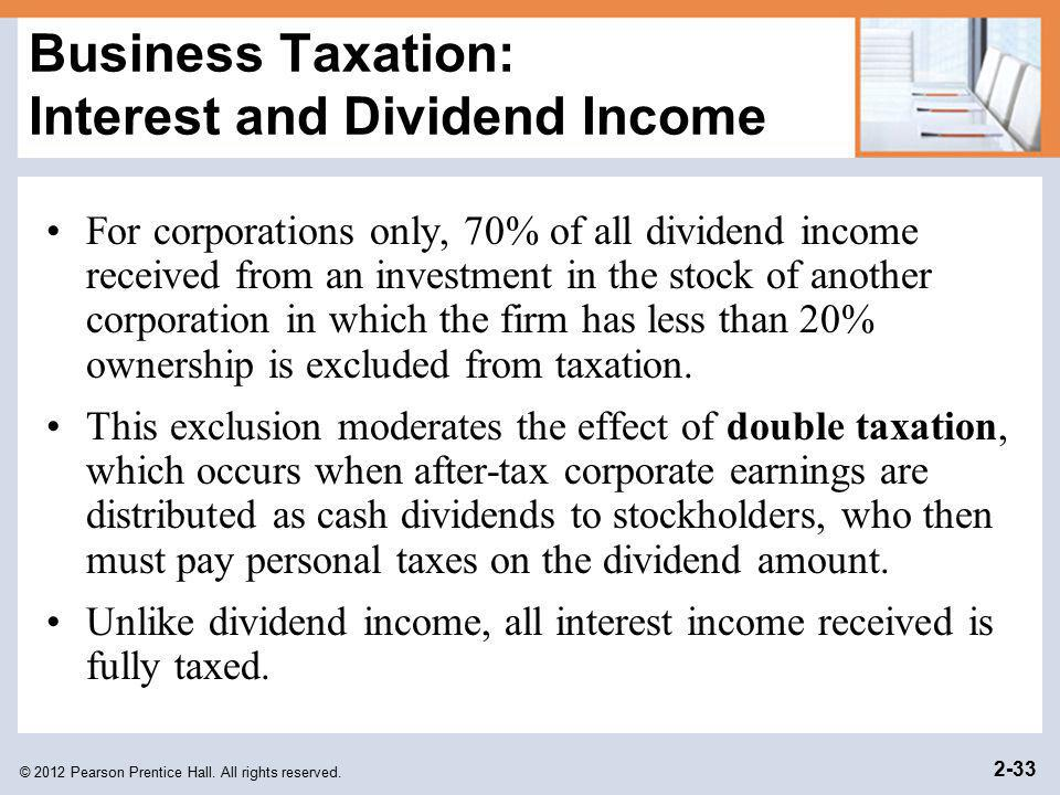 Business Taxation: Interest and Dividend Income