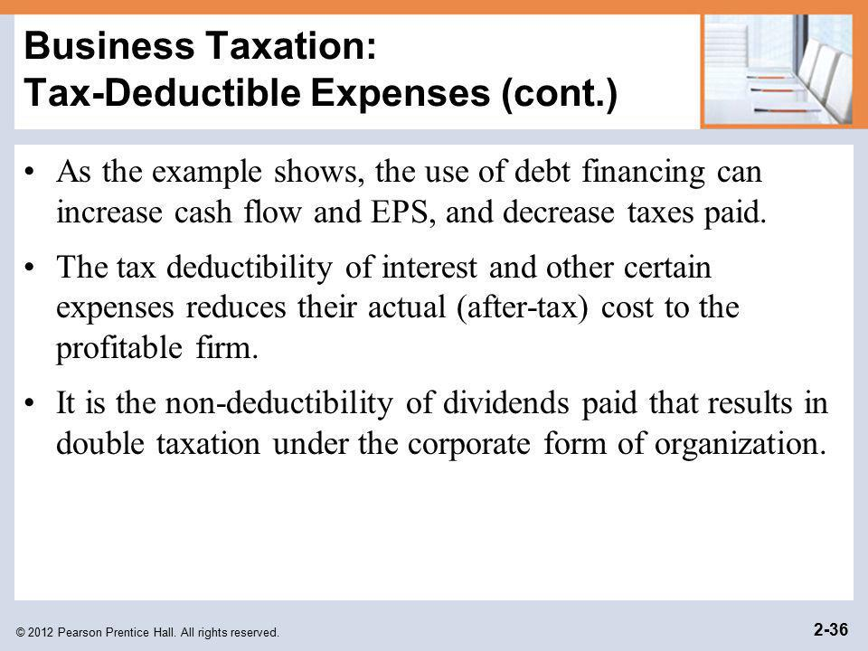Business Taxation: Tax-Deductible Expenses (cont.)