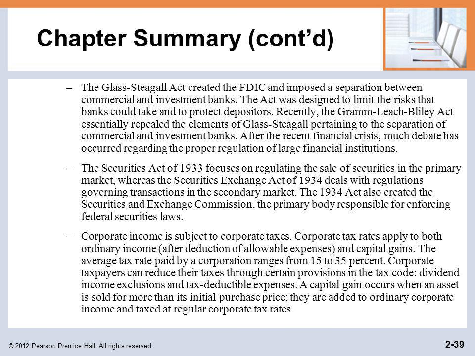 Chapter Summary (cont'd)