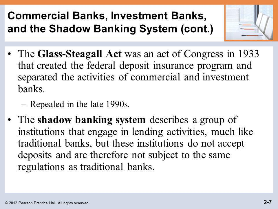 Commercial Banks, Investment Banks, and the Shadow Banking System (cont.)