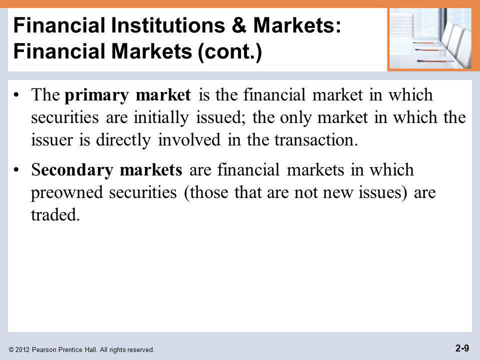 Financial Institutions & Markets: Financial Markets (cont.)