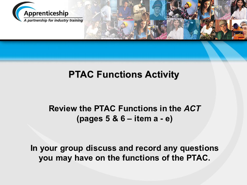 PTAC Functions Activity