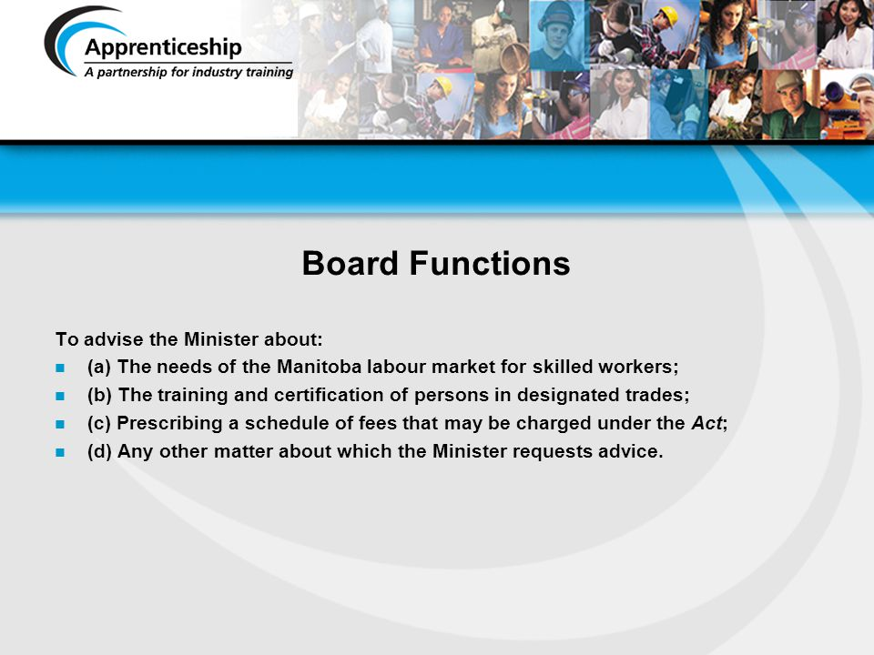 Board Functions To advise the Minister about: