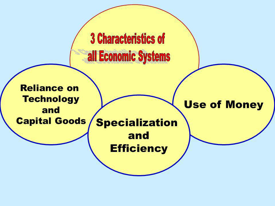 Use of Money Specialization and Efficiency 3 Characteristics of