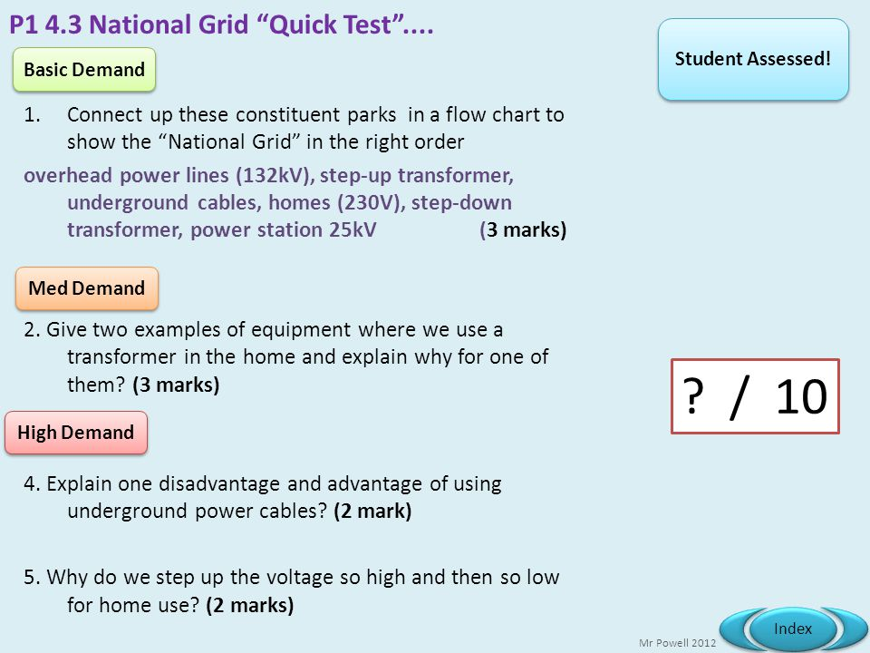 P1 4.3 National Grid Quick Test ....