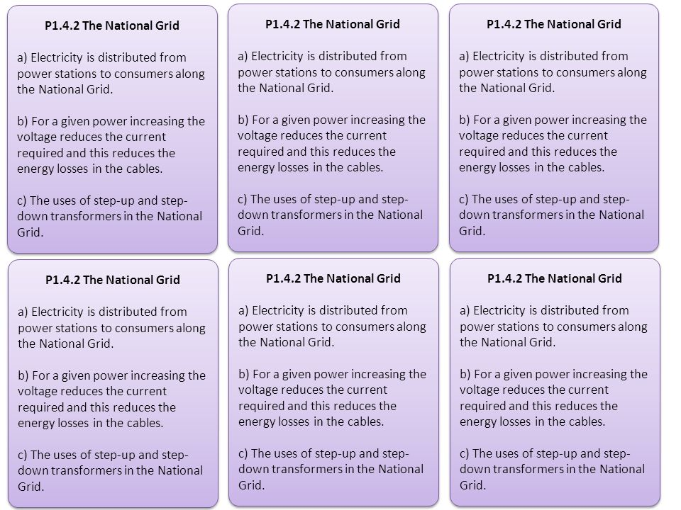 P1.4.2 The National Grid a) Electricity is distributed from power stations to consumers along the National Grid.