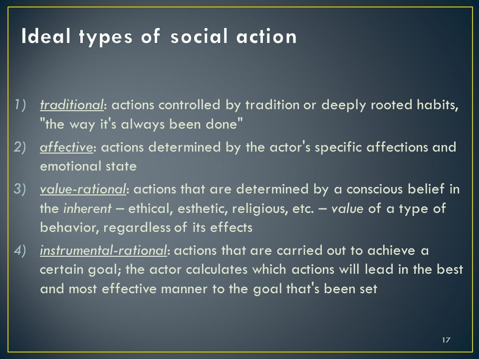 Ideal types of social action