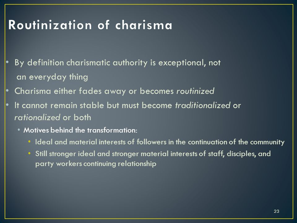Routinization of charisma