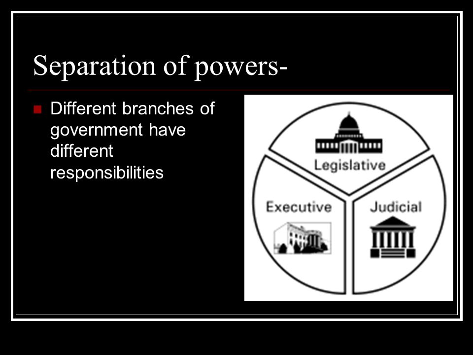 Separation of powers- Different branches of government have different responsibilities
