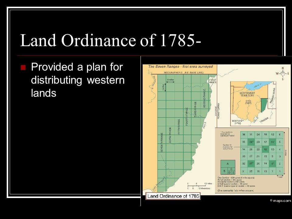 Land Ordinance of 1785- Provided a plan for distributing western lands