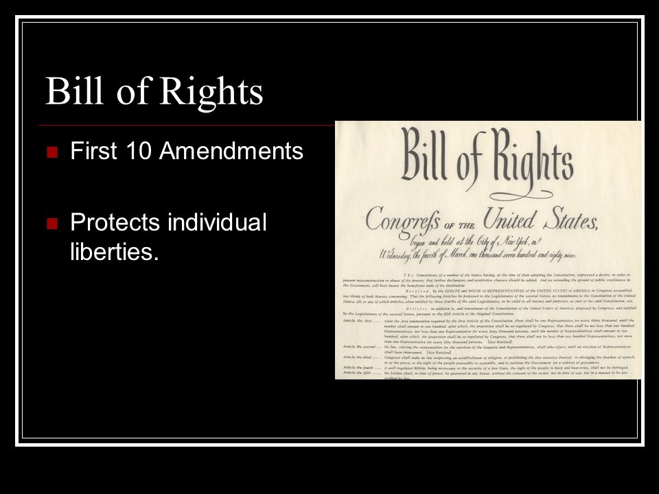 Bill of Rights First 10 Amendments Protects individual liberties.