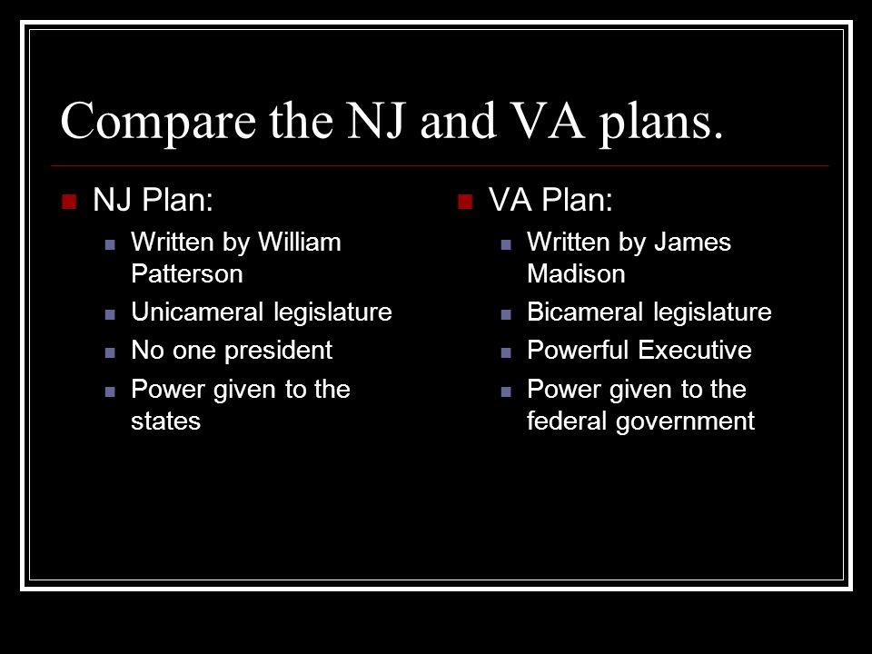 Compare the NJ and VA plans.