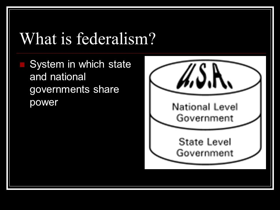 What is federalism System in which state and national governments share power