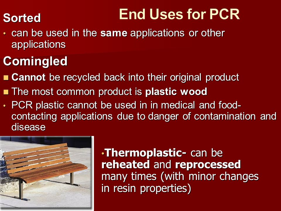 End Uses for PCR Comingled Sorted