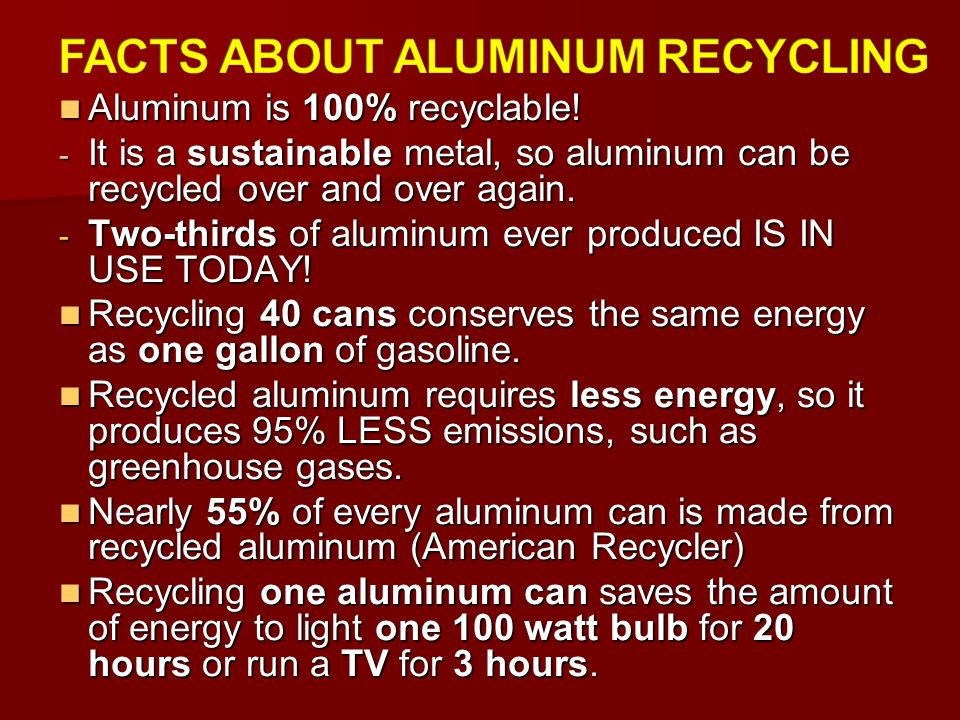 FACTS ABOUT ALUMINUM RECYCLING