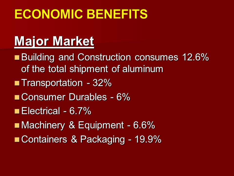 ECONOMIC BENEFITS Major Market