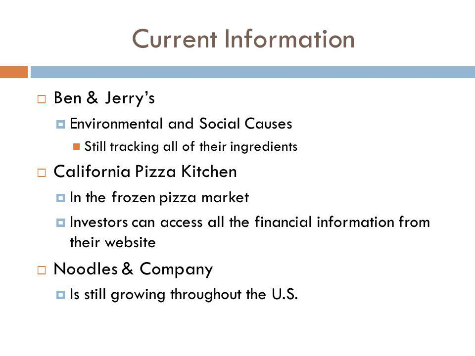 Current Information Ben & Jerry's California Pizza Kitchen