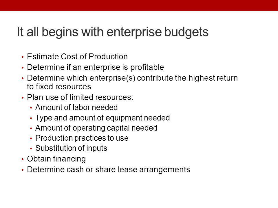 It all begins with enterprise budgets